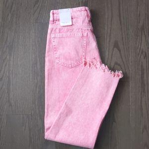 Zara acid wash pink high rise jeans